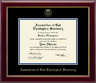 Assemblies of God Theological Seminary Diploma Frame - Gold Embossed Diploma Frame in Gallery