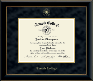 Temple College Diploma Frame - Gold Embossed Diploma Frame in Onyx Gold