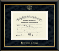 Williams College Diploma Frame - Gold Embossed Diploma Frame in Onyx Gold
