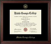 Middle Georgia College Diploma Frame - Gold Embossed Diploma Frame in Studio