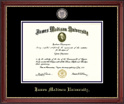 James Madison University Diploma Frame - Brass Masterpiece Medallion Diploma Frame in Kensington Gold