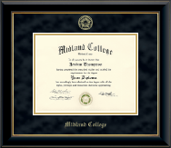 Midland College Diploma Frame - Gold Embossed Diploma Frame in Onyx Gold
