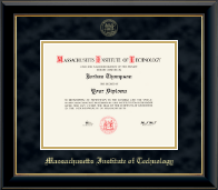 Massachusetts Institute of Technology Diploma Frame - Gold Embossed Diploma Frame in Onyx Gold