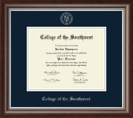 College of the Southwest Diploma Frame - Silver Embossed Diploma Frame in Devonshire