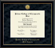 Palmer College of Chiropractic West Campus Diploma Frame - Gold Engraved Medallion Diploma Frame in Onyx Gold
