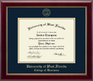 University of West Florida Diploma Frame - Gold Embossed Diploma Frame in Gallery