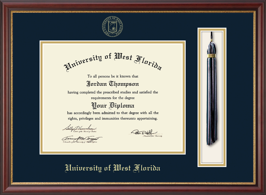 university of west florida tassel diploma frame in newport