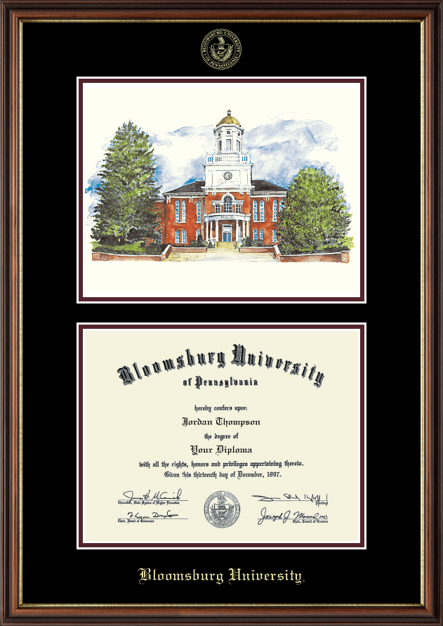bloomsburg university lithograph diploma frame in williamsburg item 124347 from bloomsburg university store - Double Degree Frame