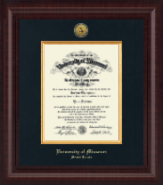 University of Missouri Saint Louis Diploma Frame - Presidential Gold Engraved Diploma Frame in Premier