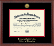 Boston University Diploma Frame - Gold Engraved Medallion Diploma Frame in Signature