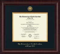 University of North Carolina Chapel Hill Diploma Frame - Presidential Gold Engraved Diploma Frame in Premier
