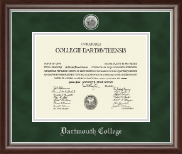 Dartmouth College Diploma Frame - Silver Engraved Medallion Diploma Frame in Devonshire