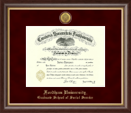 Fordham University Diploma Frame - Gold Engraved Medallion Diploma Frame in Hampshire