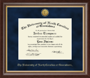 The University of North Carolina Greensboro Diploma Frame - Gold Engraved Medallion Diploma Frame in Hampshire