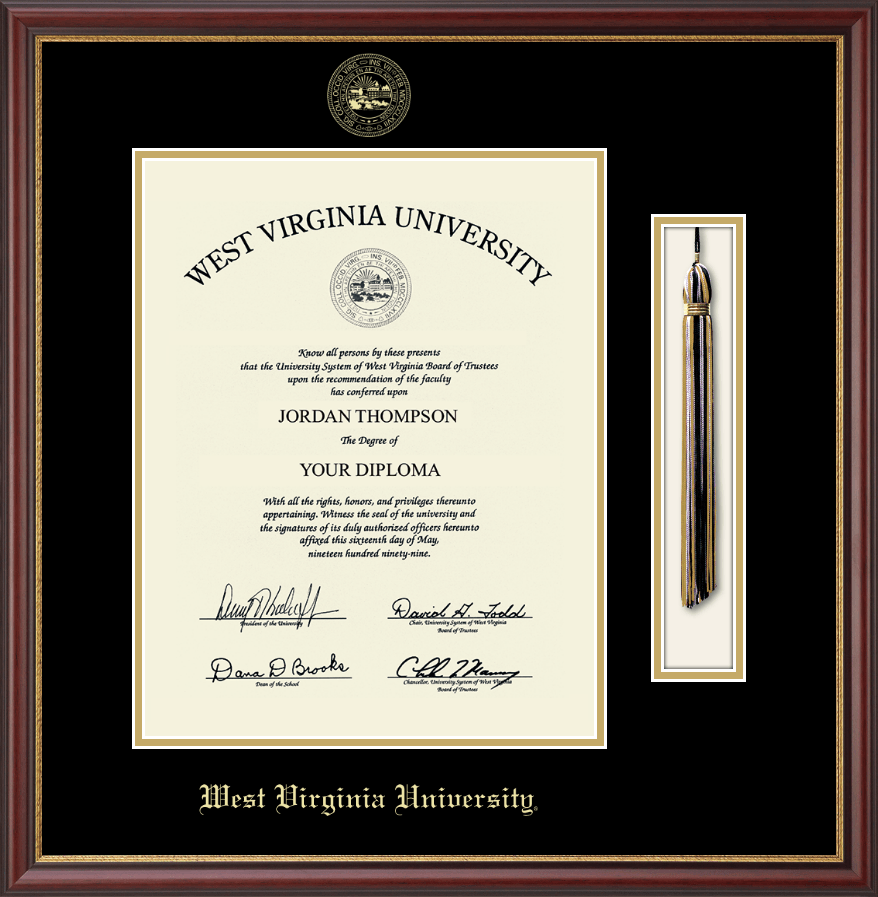west virginia university tassel edition diploma frame in newport item 124867 from west virginia university bookstore - Diploma Tassel Frame