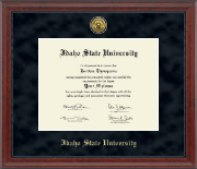 Idaho State University Diploma Frame - Gold Engraved Medallion Diploma Frame in Signature