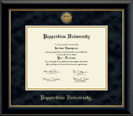 Pepperdine University Diploma Frame - Gold Engraved Medallion Diploma Frame in Onyx Gold
