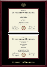 University of Minnesota Twin Cities Diploma Frame - Double Diploma Frame in Galleria