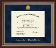 University of West Florida Diploma Frame - Gold Engraved Medallion Diploma Frame in Hampshire