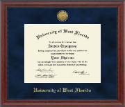 University of West Florida Diploma Frame - Gold Engraved Medallion Diploma Frame in Signature