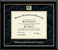Western International University Diploma Frame - Gold Embossed Diploma Frame in Onyx Gold