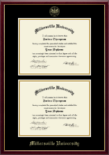 Millersville University of Pennsylvania Diploma Frame - Gold Embossed Double Diploma Frame in Galleria