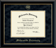 Millersville University of Pennsylvania Diploma Frame - Gold Embossed Diploma Frame in Onyx Gold