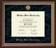 Wichita State University Diploma Frame - Gold Engraved Medallion Diploma Frame in Hampshire