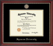 Syracuse University Diploma Frame - Black Enamel Medallion Diploma Frame in Kensington Gold