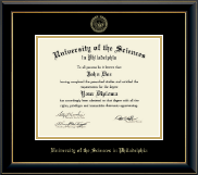 University of the Sciences in Philadelphia Diploma Frame - Gold Embossed Diploma Frame in Onyx Gold