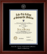 Lake Erie College of Osteopathic Medicine Diploma Frame - Silver Embossed Diploma Frame in Cambridge