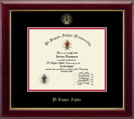 Pi Kappa Alpha Certificate Frame - Gold Embossed Certificate Frame in Gallery