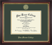 Pine Manor College Diploma Frame - Gold Embossed Diploma Frame in Regency Gold