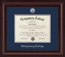 Gettysburg College Diploma Frame - Presidential Silver Engraved Diploma Frame in Premier
