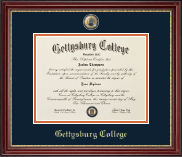 Gettysburg College Diploma Frame - Masterpiece Medallion Diploma Frame in Kensington Gold