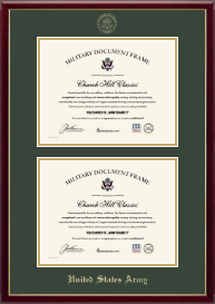 United States Army Certificate Frame - Double Certificate Frame in Galleria