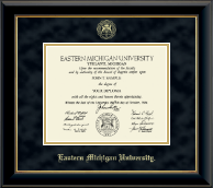 Eastern Michigan University Diploma Frame - Gold Embossed Diploma Frame in Onyx Gold