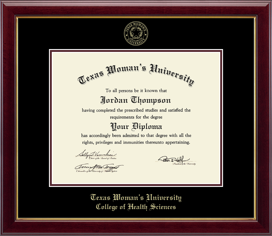 Texas Woman\'s University Gold Embossed Diploma Frame in Gallery ...