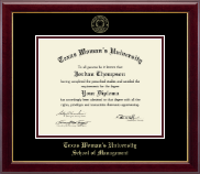 Texas Woman's University Diploma Frame - Gold Embossed Diploma Frame in Gallery