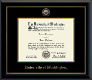 University of Washington Diploma Frame - Masterpiece Medallion Diploma Frame in Onyx Gold
