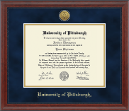 University of Pittsburgh at Bradford Diploma Frame - Gold Engraved Medallion Diploma Frame in Signature