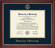 University of Pittsburgh at Bradford Diploma Frame - Gold Embossed Diploma Frame in Kensington Gold