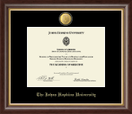 Johns Hopkins University Certificate Frame - 23K Medallion Certificate Frame in Hampshire