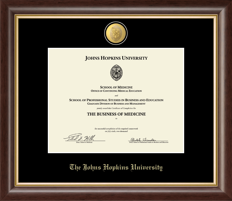 Johns Hopkins University 23K Medallion Certificate Frame in ...