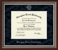 Georgian Court University Diploma Frame - Silver Embossed Diploma Frame in Devonshire