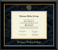 Lebanon Valley College Diploma Frame - Gold Embossed Diploma Frame in Onyx Gold