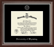 University of Wyoming Diploma Frame - Silver Embossed Diploma Frame in Devonshire