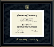 Monmouth University Diploma Frame - Gold Embossed Diploma Frame in Onyx Gold
