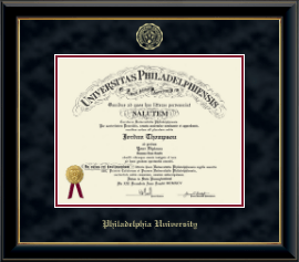 Philadelphia University Diploma Frame - Gold Embossed Diploma Frame in Onyx Gold
