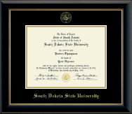 South Dakota State University Diploma Frame - Gold Embossed Diploma Frame in Onyx Gold